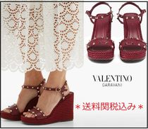 VALENTINO Open Toe Platform Rubber Sole Casual Style Plain Leather