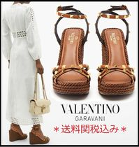 VALENTINO Open Toe Platform Rubber Sole Casual Style Studded Plain