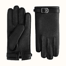 HERMES Unisex Silk Plain Leather Leather & Faux Leather Gloves