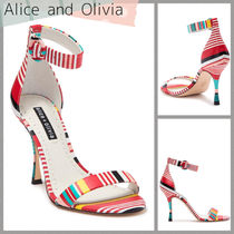 Alice+Olivia Stripes Open Toe Casual Style Leather Party Style