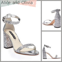 Alice+Olivia Open Toe Casual Style Leather Block Heels Party Style