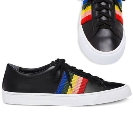 Round Toe Casual Style Leather Logo Low-Top Sneakers