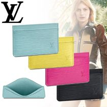 Louis Vuitton EPI Unisex Street Style Plain Leather Logo Card Holders