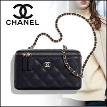 CHANEL Casual Style Unisex Calfskin Vanity Bags 2WAY Chain Plain