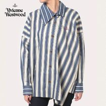 Vivienne Westwood Stripes Casual Style Street Style Long Sleeves Plain Cotton