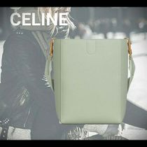 CELINE Casual Style Calfskin A4 Plain Office Style Icy Color Totes