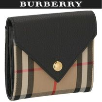 Burberry Other Plaid Patterns Canvas Leather Folding Wallet