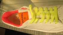 CHANEL Street Style Plain Logo Neon Color Sneakers