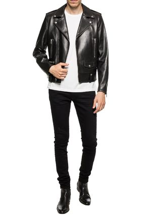 Saint Laurent Leather Logo Biker Jackets
