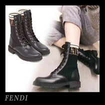 FENDI Round Toe Rubber Sole Lace-up Casual Style Plain Leather