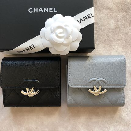 CHANEL Folding Wallets Calfskin Folding Wallet Logo Folding Wallets