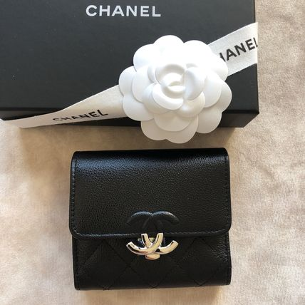 CHANEL Folding Wallets Calfskin Folding Wallet Logo Folding Wallets 8