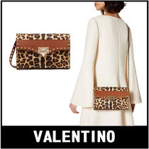 VALENTINO Leopard Patterns Casual Style Calfskin 2WAY Crossbody