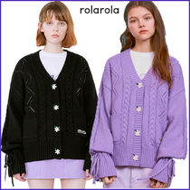 rolarola Cable Knit Casual Style Street Style Long Sleeves Plain