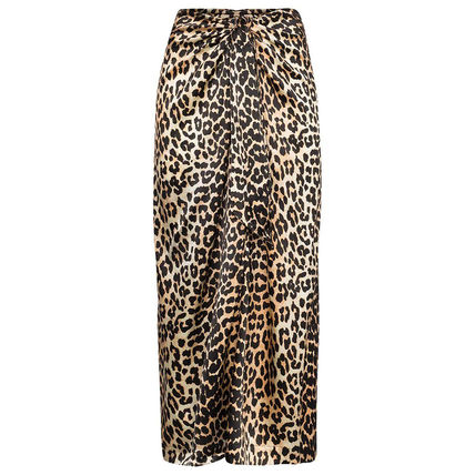 Flared Skirts Leopard Patterns Casual Style Maxi Silk Medium