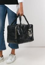 Golden Goose Casual Style Unisex Calfskin Blended Fabrics A4 Plain Totes