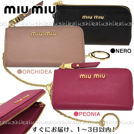 MiuMiu MADRAS Plain Leather Logo Keychains & Bag Charms