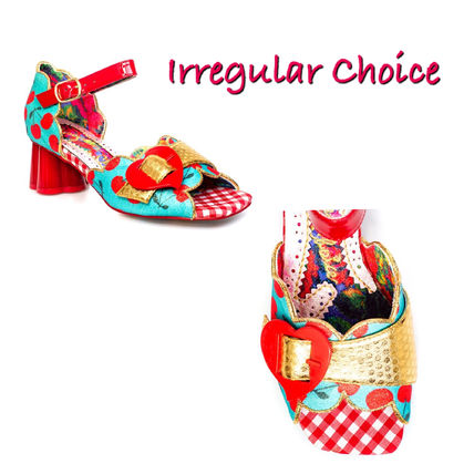Gingham Heart Open Toe Casual Style Blended Fabrics