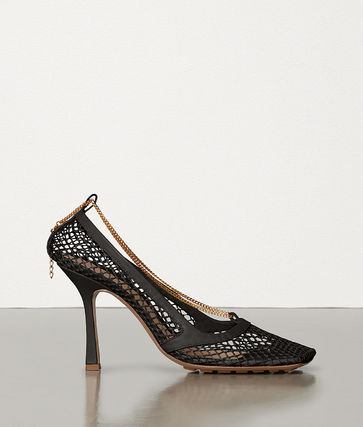 Blended Fabrics Chain Pin Heels Stiletto Pumps & Mules