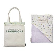 STARBUCKS Flower Patterns Casual Style Co-ord Logo Totes