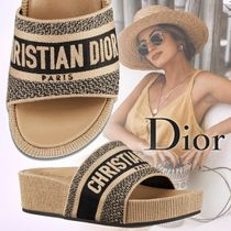 Christian Dior DWAY Open Toe Platform Rubber Sole Casual Style Mules Logo