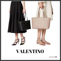 VALENTINO SHOPPING Casual Style Unisex Calfskin Bag in Bag A4 Plain
