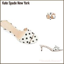 kate spade new york Dots Open Toe Leather Pin Heels Mules Heeled Sandals