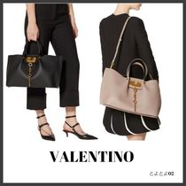 VALENTINO VLOGO Casual Style Calfskin Bag in Bag A4 2WAY Plain Office Style