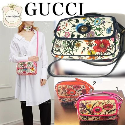 GUCCI Flower Patterns Casual Style Elegant Style Crossbody