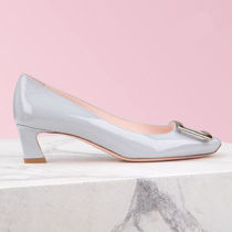 Roger Vivier Square Toe Leather Office Style Elegant Style