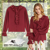 ETRO Casual Style Silk Long Sleeves Plain Medium Elegant Style