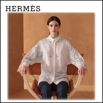 HERMES Casual Style Silk Long Sleeves Party Style Oversized