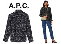 A.P.C. Heart Casual Style Silk Bi-color Long Sleeves Elegant Style