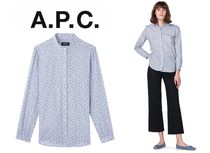 A.P.C. Paisley Casual Style Bi-color Long Sleeves Cotton