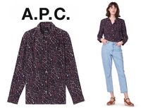 A.P.C. Flower Patterns Casual Style Silk Long Sleeves Elegant Style