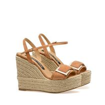 Sergio Rossi Open Toe Platform Casual Style Suede Plain Party Style