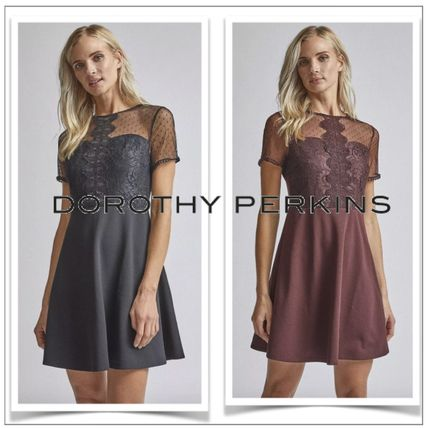 Crew Neck Short Flared Short Sleeves Party Style Lace