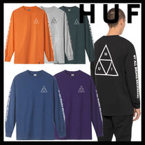 HUF Unisex Street Style Long Sleeves Plain Cotton