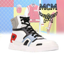 MCM Street Style Bi-color Leather Sneakers