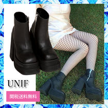 UNIF Clothing Platform Casual Style Plain Leather Block Heels