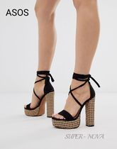 ASOS Open Toe Lace-up Casual Style Block Heels Sandals Sandal