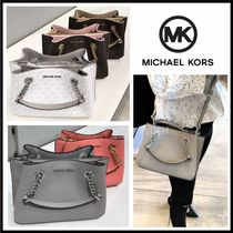 Michael Kors Monogram Casual Style 2WAY Plain Leather Crossbody Handbags