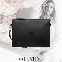 VALENTINO VLOGO Casual Style Calfskin Party Style Office Style Elegant Style