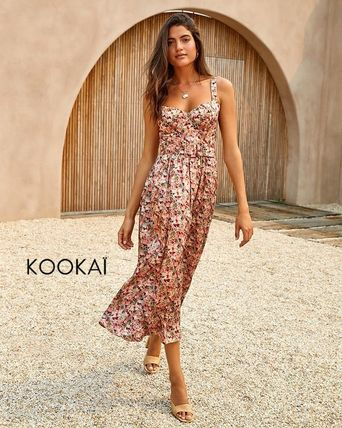 Flower Patterns Casual Style Maxi Plain Long Oversized