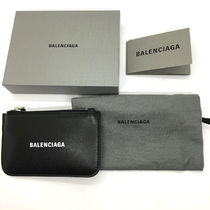 BALENCIAGA EVERYDAY TOTE Unisex Leather Small Wallet Logo Card Holders