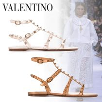 VALENTINO Open Toe Casual Style Studded Leather Party Style