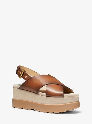 Michael Kors Open Toe Platform Casual Style Plain Leather