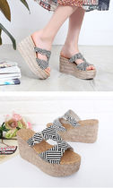 Other Plaid Patterns Open Toe Platform Casual Style Faux Fur