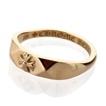 CHROME HEARTS CH PLUS Unisex Street Style 22K Gold Logo Rings