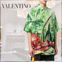 VALENTINO Silk Street Style Short Sleeves Front Button Shirts